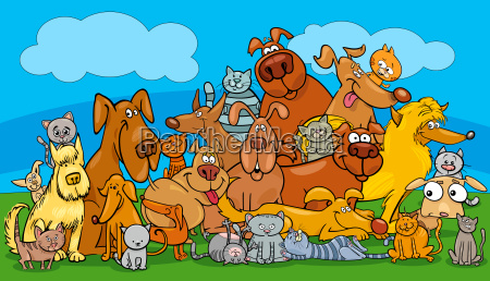 cartoon dog and cats pet characters