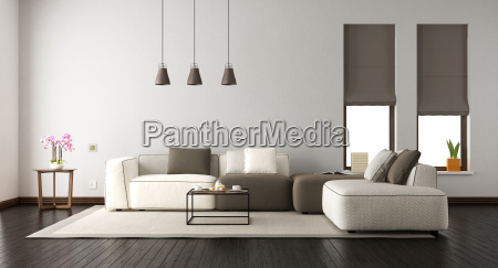 white living room with elegant sofa