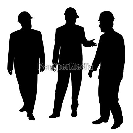 three businessmen architects engineers or workers
