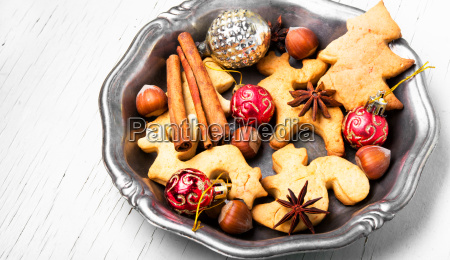 christmas cookies and xmas baubles