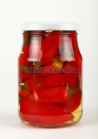 jar of pickled red hot chili