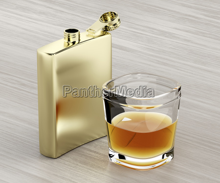 hip flask and a glass of