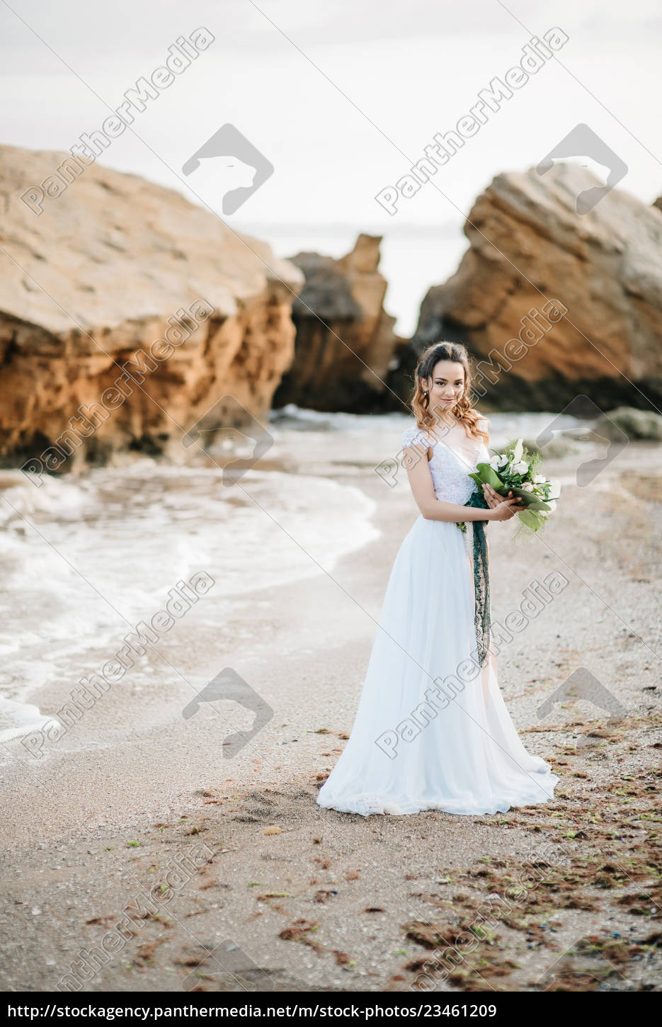 bride, with, a, wedding, bouquet, on - 23461209