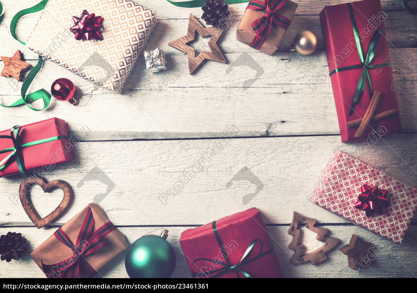 christmas, gifts, and, decorations, on, white - 23461361