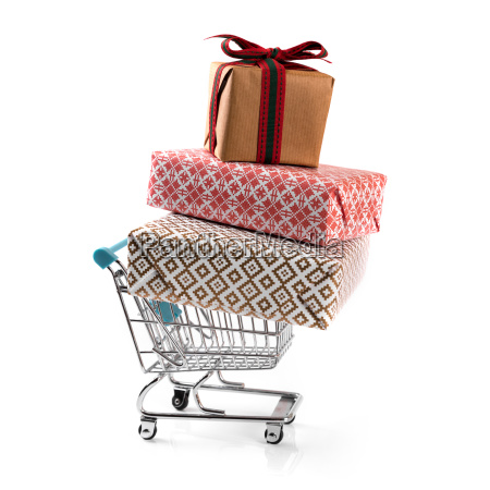shopping, cart, with, stack, of, gifts - 23461365
