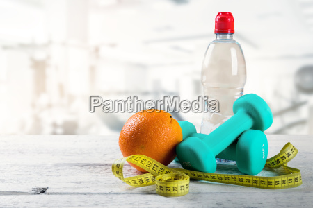 healthy lifestyle fitness items on the
