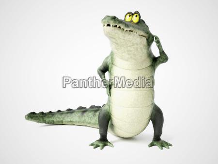 3d rendering of a cartoon crocodile