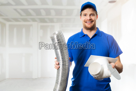 hvac technician ready to install ventilation