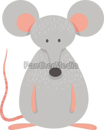 cute grey mouse animal character