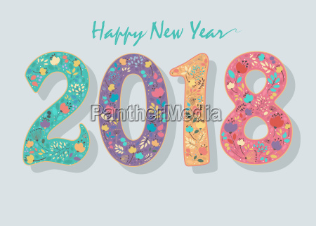 happy new year 2018 floral number