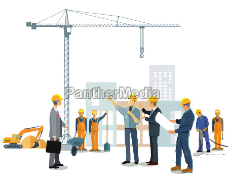 construction site with architect and builder