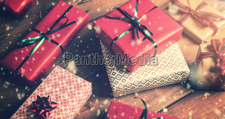 christmas, gifts, packed, on, brown, wooden - 23467552