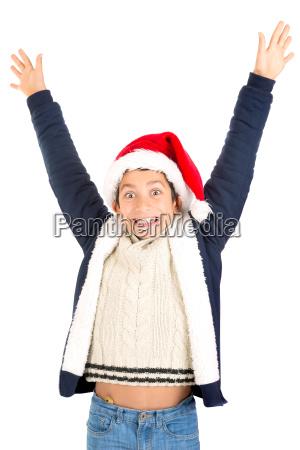 boy with santas hat