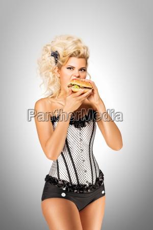 eating, burger. - 23468182