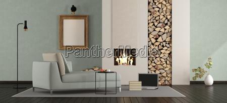 minimalist, lounge, with, fireplace - 23473830