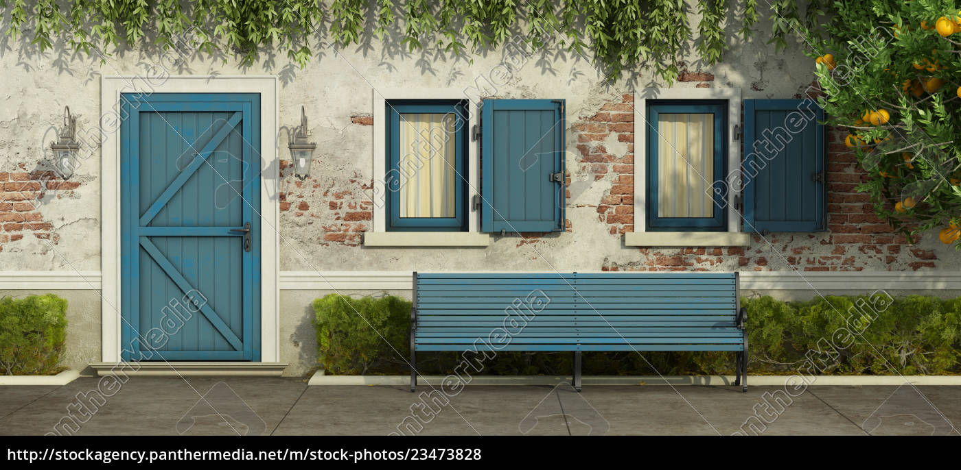 old, house, with, blue, door, and - 23473828