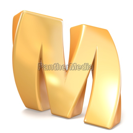 orange twisted font uppercase letter m