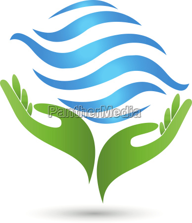two hands waves water logo