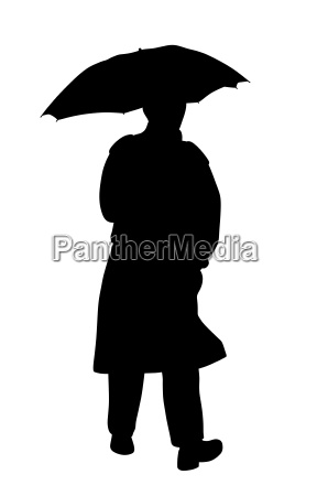 man in raincoat with umbrella