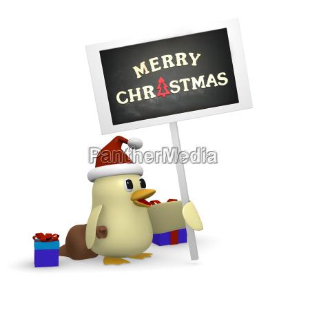 christmas information santa bird with sign
