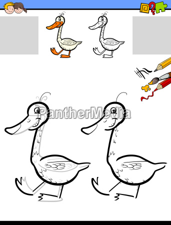 drawing and coloring worksheet with goose