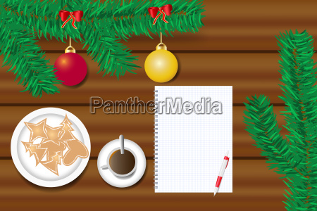ornate christmas table with blank paper