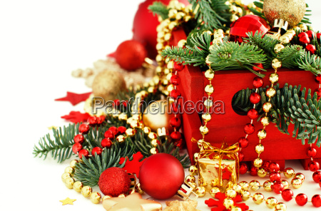 red and golden festive christmas decorations