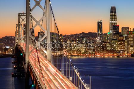 san francisco bay bridge and skyline
