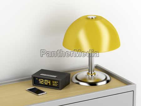 nightstand, with, electric, devices, on, it - 23480857