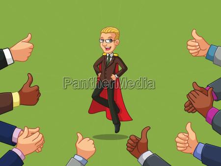 blonde superhero businessman in brown suit