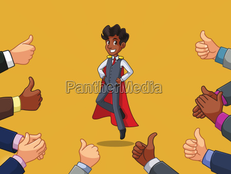 superhero businessman in vest cartoon character