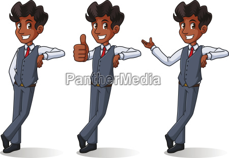 set of businessman in vest cartoon