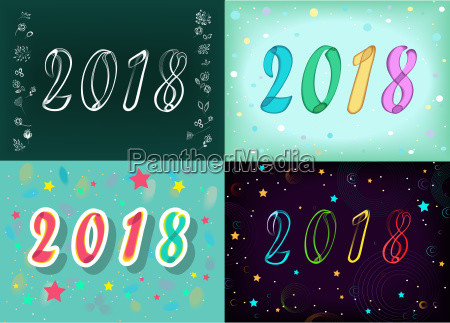 new years specific 2018 cards floral