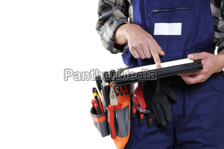 young, electrician, technician, in, workwear, isolated - 23481601