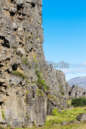 stone walls of almannagja fault in