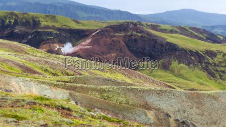 mount slopes in hveragerdi hot spring