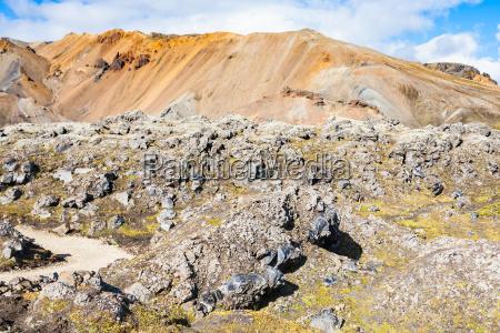 path to laugahraun volcanic lava field