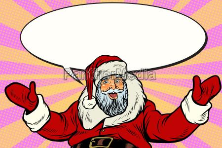promoter santa claus with comic bubble