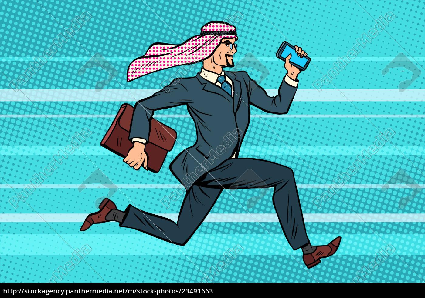 arab, businessman, runs, forward, , phone, and - 23491663
