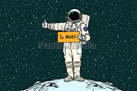 astronaut, hitch, rides, on, mars - 23491745