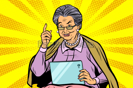 caucasian, elderly, woman, with, a, tablet - 23491687