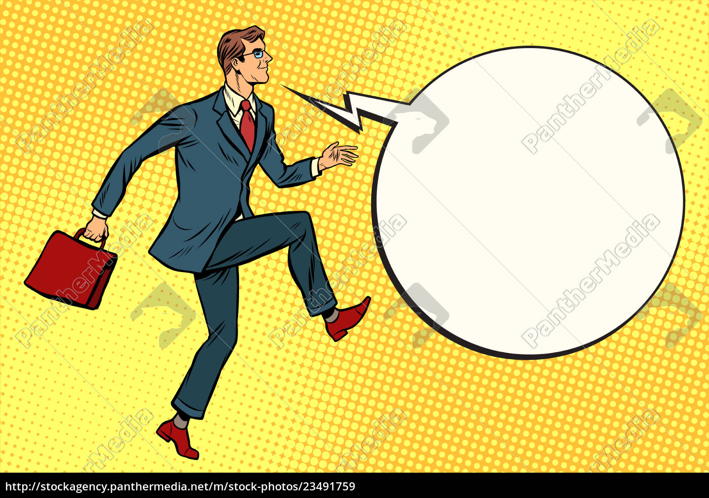 funny, businessman, is, stepping, forward - 23491759