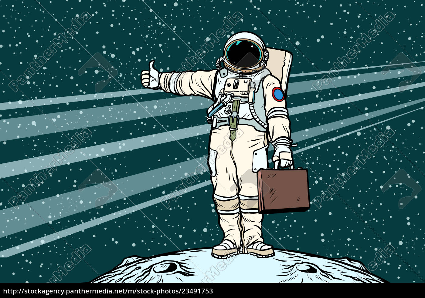 hitchhiker, astronaut, with, travel, suitcase - 23491753
