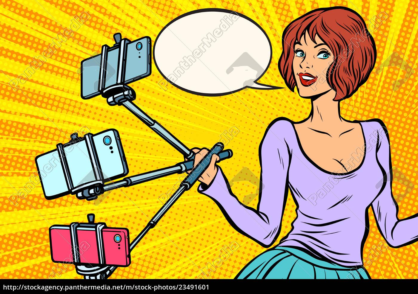 selfie, stick, woman - 23491601