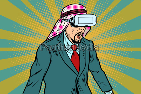 surprised, arab, businessman, in, vr, glasses - 23491675
