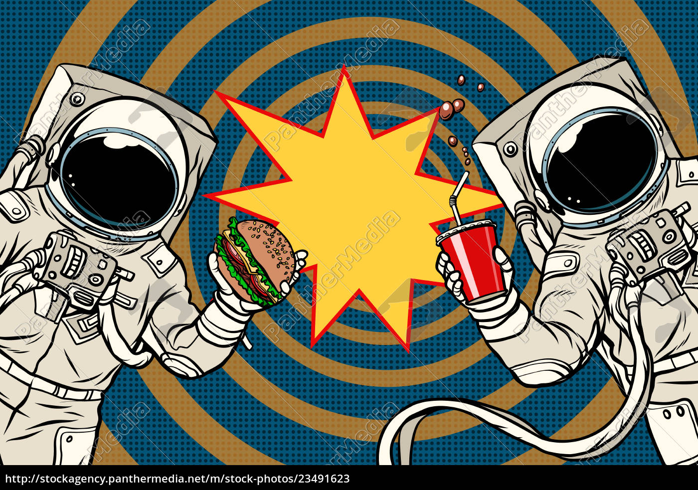 two, astronauts, are, eating, lunch, fast - 23491623