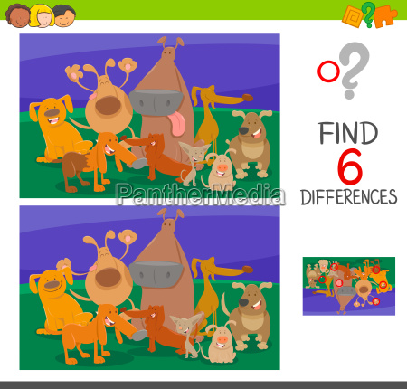 find the differences with dogs cartoon
