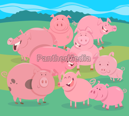 flock of pigs farm animal characters