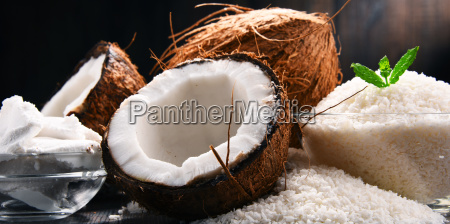 composition, with, bowl, of, shredded, coconut - 23492065