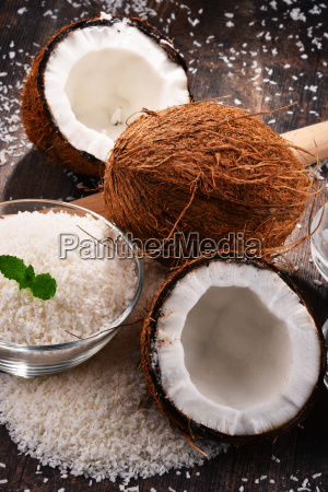 composition, with, bowl, of, shredded, coconut - 23492069